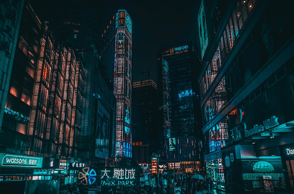 Miasto w klimacie cyberpunk